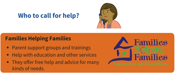 Families Helping Families can provide the following services. 1. Parent support groups and trainings. 2. Help with education and other services. 3. free help and advice for many kinds of needs.