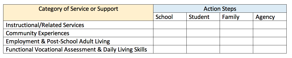 5x5 grid shows category of service or support: instructional/related services, community experiences, employment and post-school adult living, and functional vocational assessment and daily living skills; and action steps: school, student, family, agency.