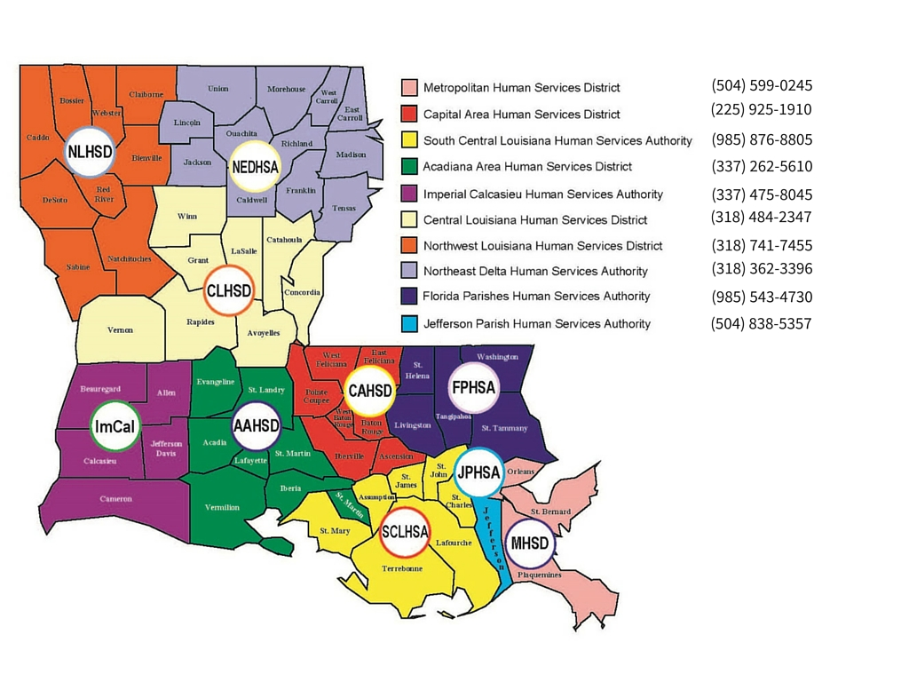 Image showing a map of the state of Louisiana with a listing of all of the Human Services Districts in the state and their phone numbers. 'Metropolitan Human Services District (504) 599-0245, Capital Area Human Services District (225) 925-1910, South Central Louisiana Human Services Authority (985) 876-8805, Acadiana Area Human Services District (337) 262-5610, Imperial Calcasieu Human Services Authority 337) 475-8045, Central Louisiana Human Services District (318) 484-2347, Northwest Louisiana Human Services District (318) 741-7455, Northwest Delta Human Services Authority (318) 362-3396, Florida Parished Human Services Authority (985) 543-4730, Jefferson Parish Human Services Authority (504) 838-5357'