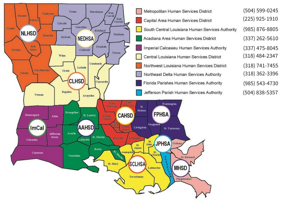 Image of a map of Louisiana with the different regions and their corresponding Human Services District Office. To find yours, you can use the Directory link above.