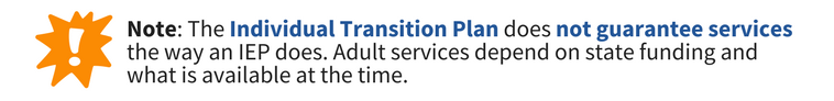Note: The Individual Transition Plan  does not guarantee services the way an IEP does. Adult servcies depend on state funding and what is available at the time.