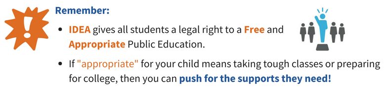 Remember: IDEA gives all students a legal right to a Free and Appropriate Public education. If 'appropriate' for your child means taking tough classes or preparing for college, then you can push for the supports they need!
