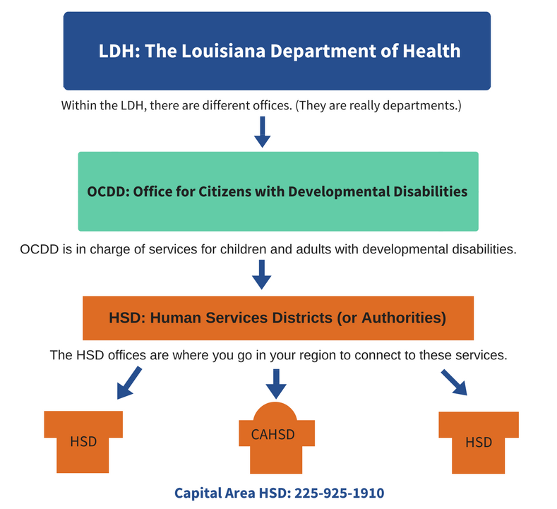 The Louisiana Department of Health or LDH. Within the LDH there are different offices, they are really more like departments. They are the OCDD and the OAAS. The OCDD is the Office for Citizens with Developmental Disabilities. This office provides services for children and adults with developmental disabilities. The OAAS is the Office of Aging and Adult Services. It provides services for people with disabilities and older adults. Outside of the LDH, is the HSD Office or the Human Services District Office. Call you local HSD Office to connect to OCDD services.