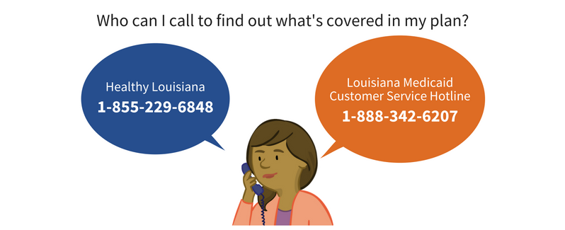 Image of parent character Paula beside the text 'You can call Healthy Louisiana at 1-855-229-6848 or Louisiana Medicaid Customer Service Hotline at 1-88-342-6207 to find out what is covered in your plan'