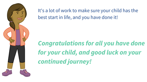 Image of Exceptional Lives Parent Character Paual beside the text 'It's a lot of work to make sure your child has the best start in life, and you have done it! Congratulations for all you have done for your child, and good luck on your continued journey!