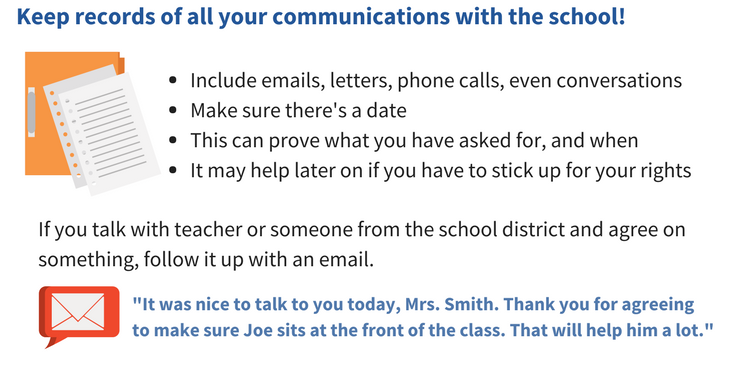 "Keep records of all your communications with the school! Include emails, letters, phone calls, even conversations. Make sure theres a date. This can prove what you have asked for and when. It may help you later on if you have to stick up for your rights. If you want to talk with teacher or someone from the school district and agree on something, follow it up with an email. An example of a follow up email would be ""It was nice to talk to you today, Mrs. Smith. Thank you for agreeing to make sure Joe sits at the front of the class. That will help him a lot."""