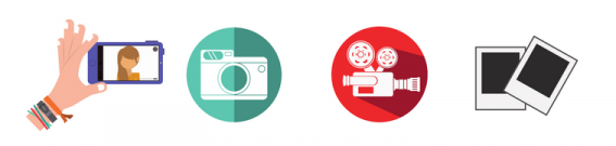 Image shows icons of a mobile phone, camera, video camera, and Polaroid picture.