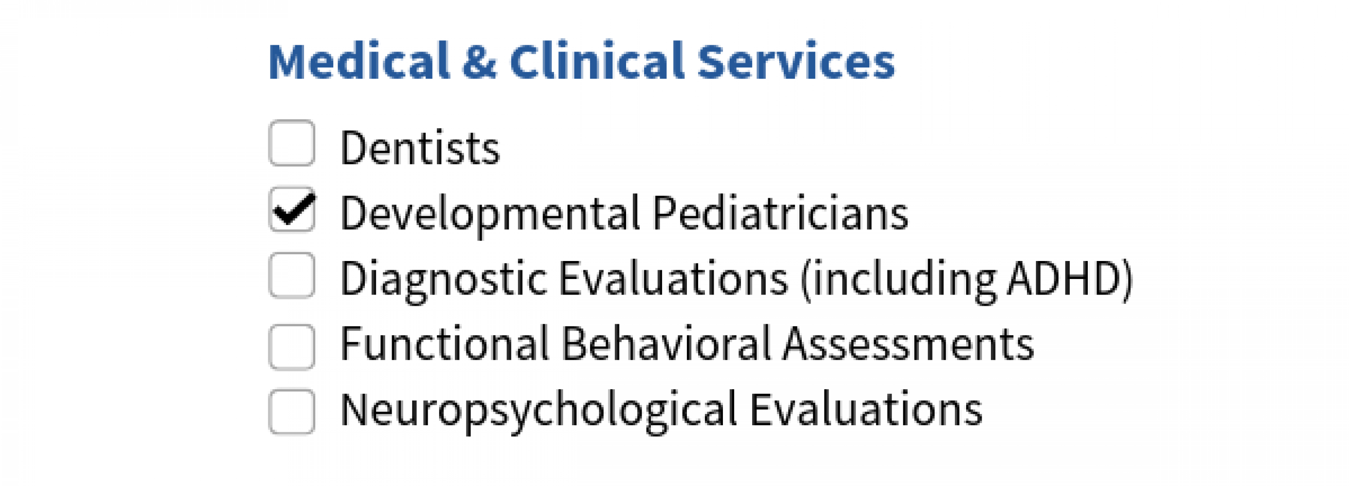 Image is a screenshot from the resource directory that shows the search options for medical and clinical services.