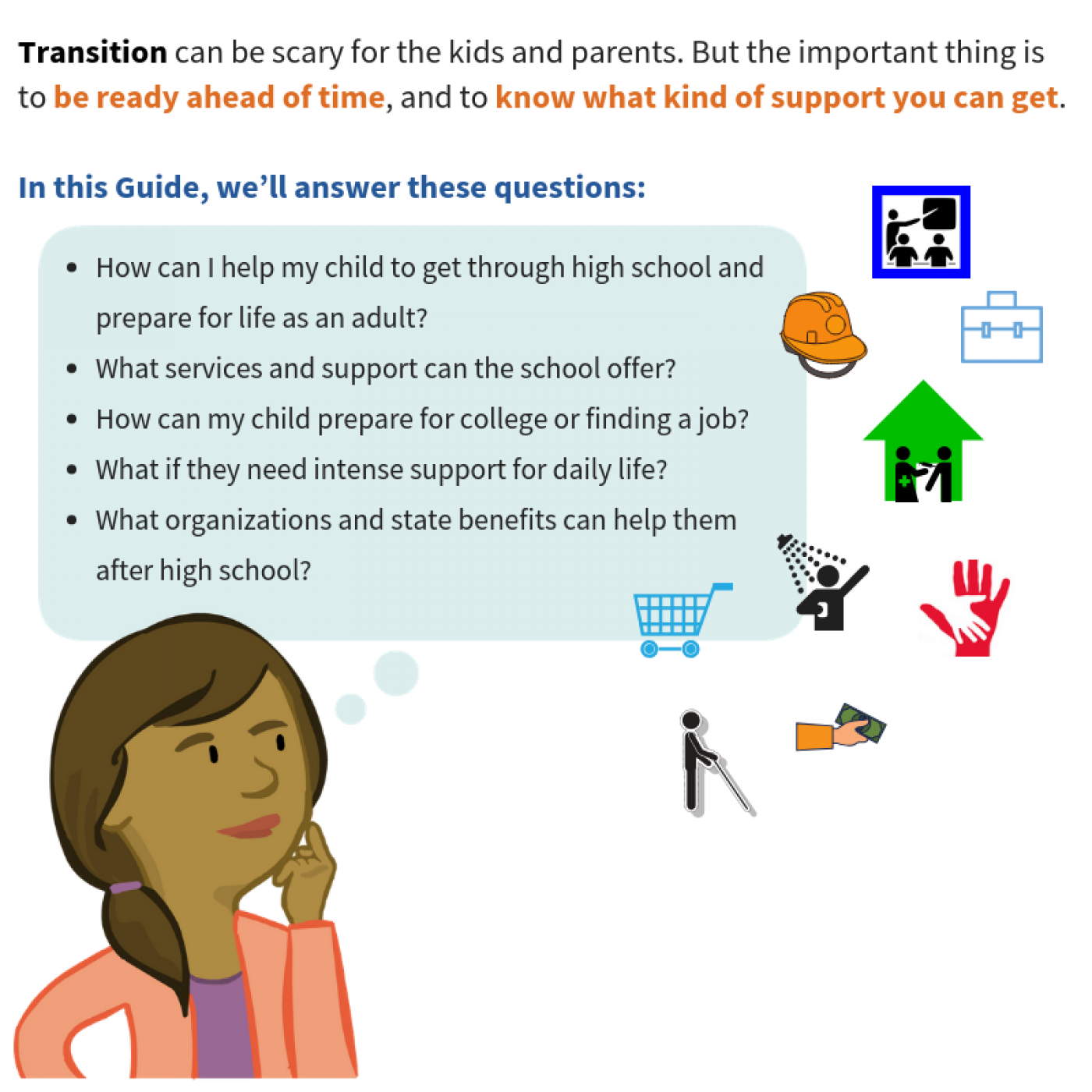 Transition can be scary for the kids and parents. But the important thing is to be ready ahead of time, and to know what kind of support you can get. In this Guide, we'll answer these questions: (Image of a mom thinking about the following questions) How can I help my child to get through high school and prepare for life as an adult? What services and support can the school offer? How can my child prepare for college or finding a job? What if they need intense support for daily life? What organizations and state benefits can help them after high school?