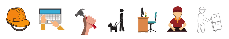 image of icons representing a range of jobs. Including laptop, hammer, dog walker, etc.