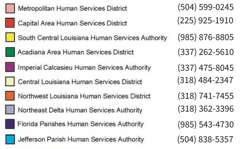 Map showing Louisiana Human Services Districts and contact information