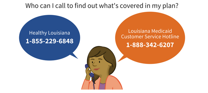 Image of Parent Character Paula beside a thought bubble containing contact information for Healthy Louisiana, and Louisiana Medicaid Customer Service Hotline