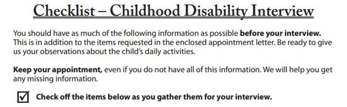 Image of the first few lines of the SSA disability checklist.