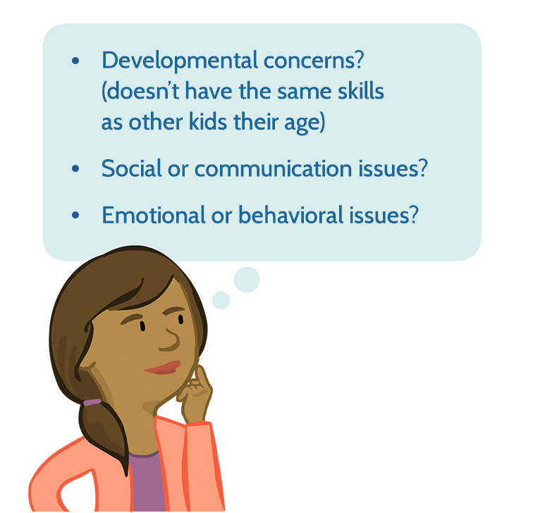 Image of exceptional lives parent character beside a thought bubble with the text 'Developmental concerns? (doesn't have the same skills as other kids their age), Social or communication issues?, Emotional or behavioral issues?'