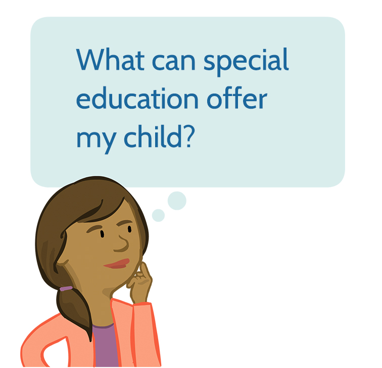 ELI parent character paula with a thought bubble and the text 'What can special education offer my child'