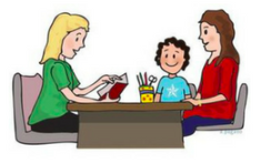 Image of a parent and a child talking to a parent.