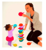 Image of an woman playing blocks with a child