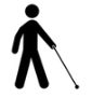 Image of a person walking with a seeing cane