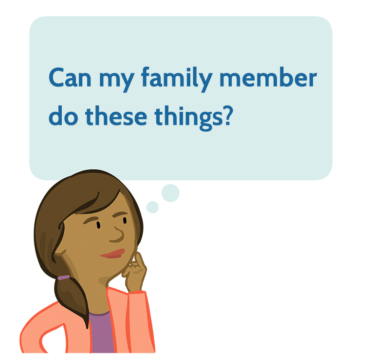 Graphic of parent who wonders, 'Can my family member do these things?'