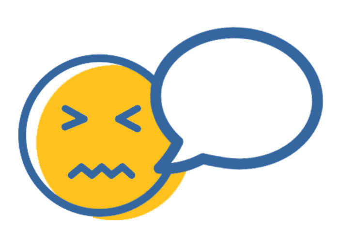 Image of an unconfortable face with an empty speech bubble beside it.