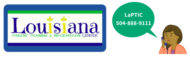 Image of Louisiana Parent Training and Information Center logo and their phone number: 504-888-9111'