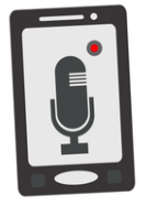 Image of a phone with the recording app open