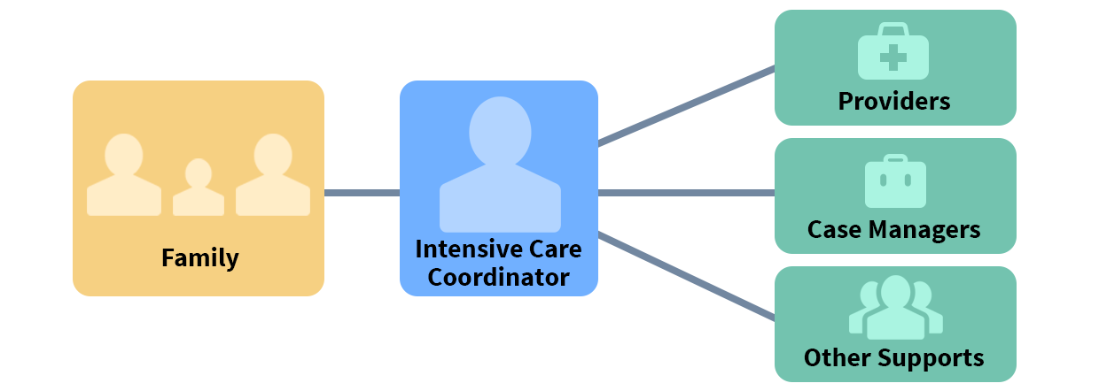 Flow chart starting with the 'family' leading to 'intensive care coordinator' leading to 'providers, case managers and other supports'.