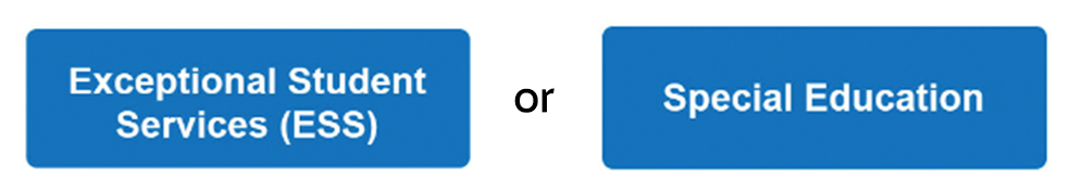 Image of two rounded rectangles separated by the word 'or' with the text 'Exceptional Student Services(EDD)' in the first rectangle, and the text 'Special_Education' in the second rectangle'