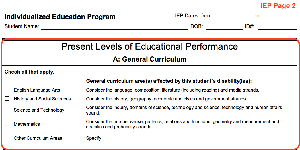 Example of the IEP form page 2. This page is titled Present Levels of Education Performance. The first section is titled General Curriculum and includes a checklist of subjects such as English, History, Math, etc.