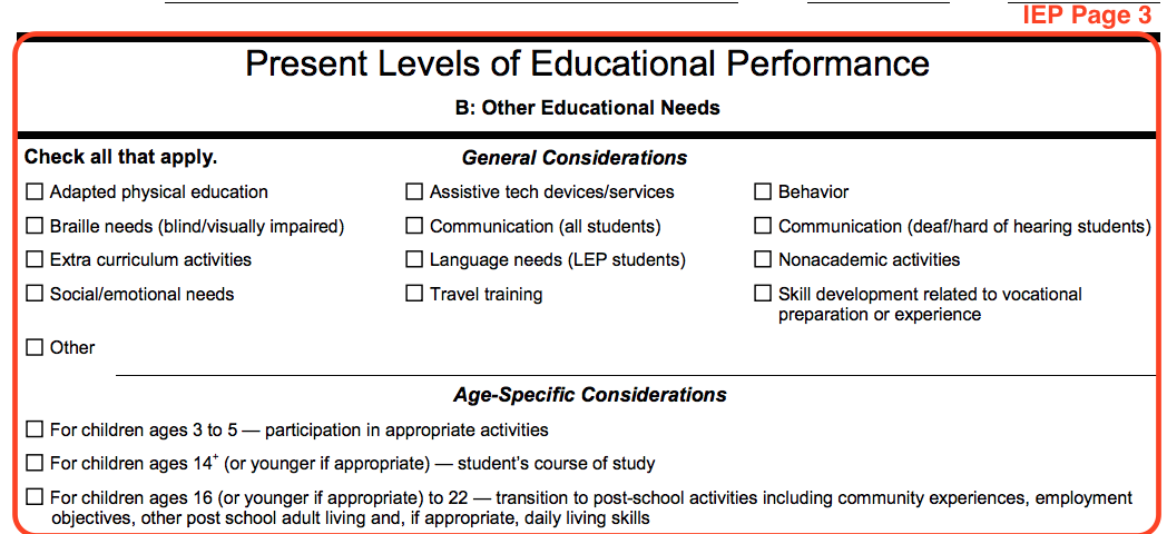 An excerpt from IEP page 3 titled Present Levels of Educational Performance, section B: Other Education Needs. In this section there are checkboxes listing different needs such as Adapted physical education, social or emotions needs, assistive tech services, and others.