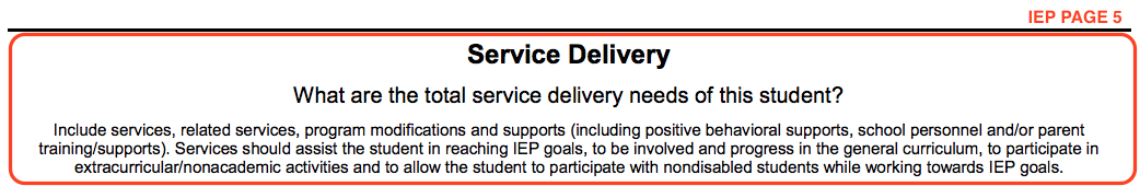 Excerpt from IEP page 5 titled Service Delivery