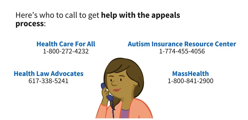 Here's who to call to get help with the appeals process: Health Care for All, 1-800-272-4232, Health Law Advocates, 617-338-5241, Autism Insurance Resource Center, 1-774-455-4056, MassHealth, 1-800-841-2900.