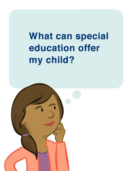 Parent character Paula beside a thought bubble with the text 'What can special education offer my child?
