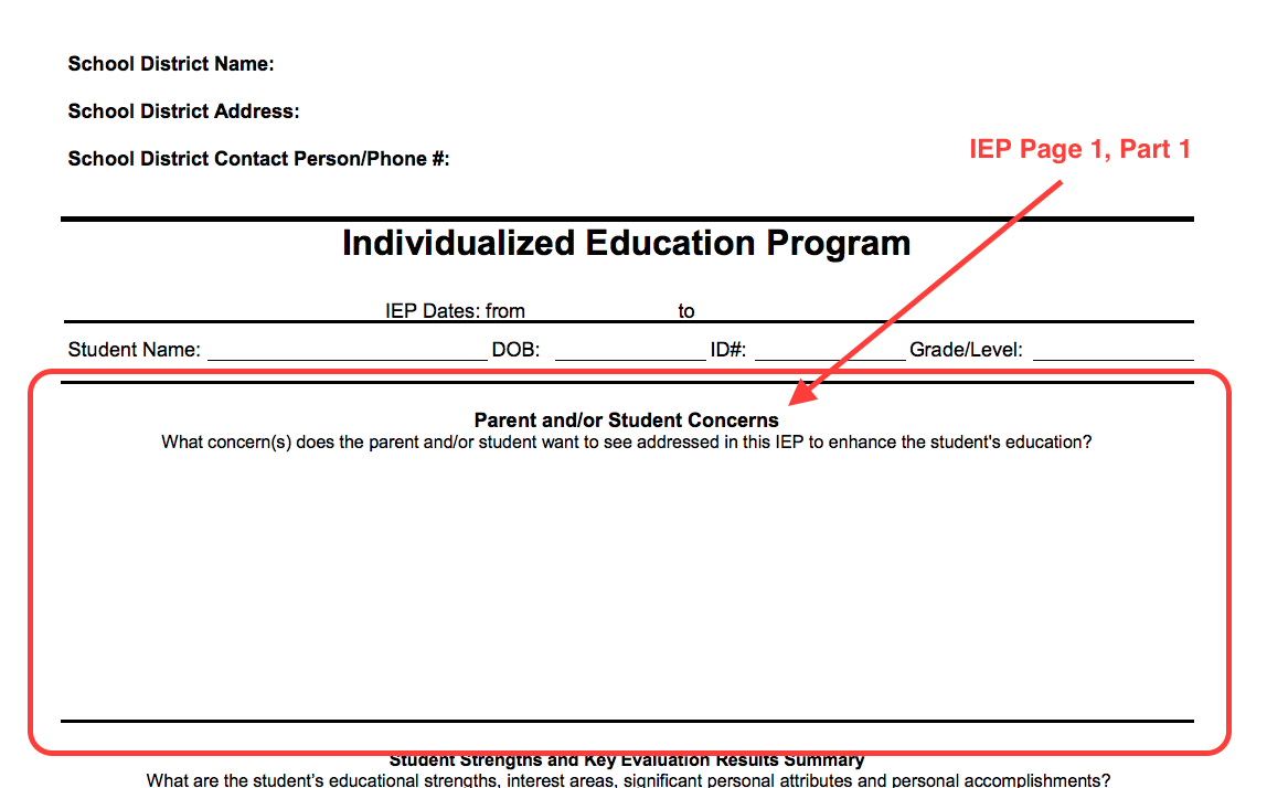Example of IEP form with the Page One, Part 1 section highlighted. This section is titled Parent and or Student concerns.