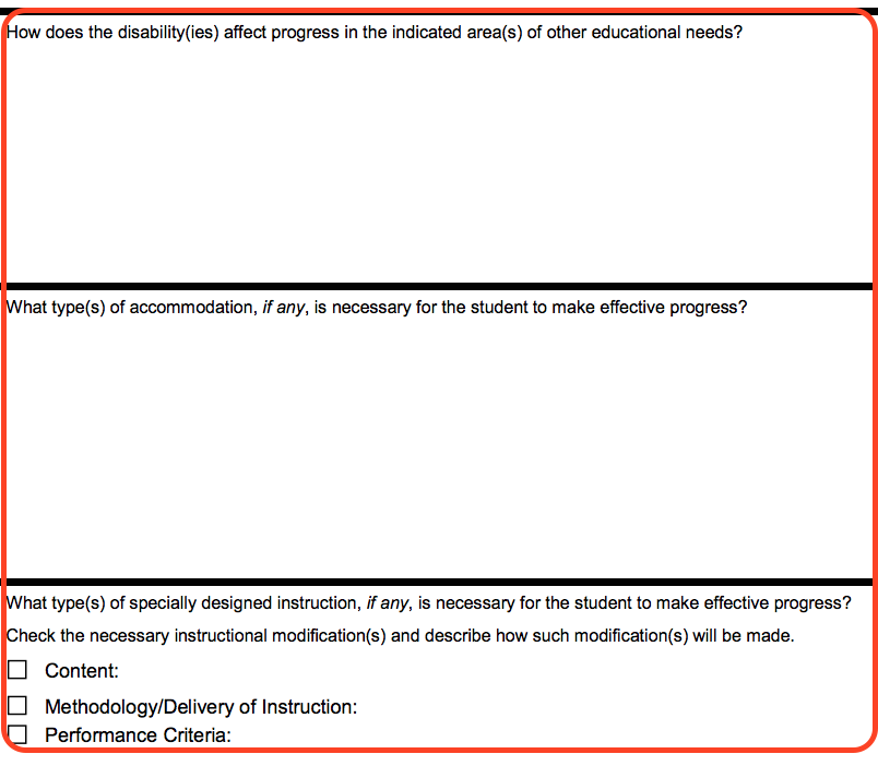 An excerpt from the IEP form with the following three questions. 1. How does the disability or disabilities affect progress in the indicated area or areas of other educational needs? 2. What types of accommodation, if any, is necessary for the student to make effective progress? 3. What type or types of specially designed instruction, if any, is necessary for the student to make effective progress? Check the necessary instructional modifications and describe how such modifications will be made. Checkbox 1 of 3. Content. Checkbox 2 of 3. Methodology or Delivery of instruction. Checkbox 3 of 3. Performance Criteria.