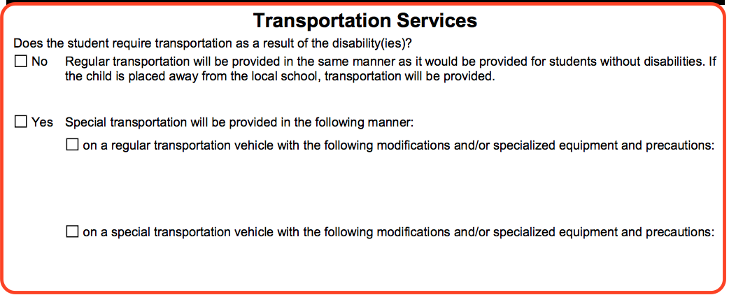 An excerpt from the IEP form form titled Transportation Services that has questions about special transportation services.