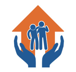 mage of a pair of hands holding up a house and one person supporting another person to stand