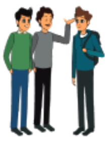 Image of three students talking