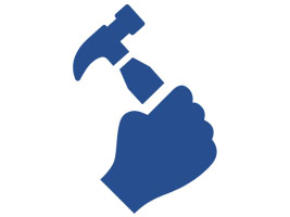Image of a hand holding a hammer