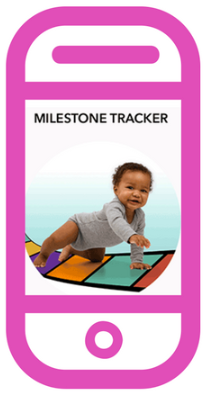 Image of phone with a photo of a baby on the milestone stracker app