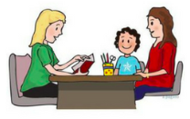 Image of a parent and child talking to a teacher
