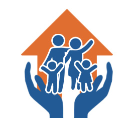 Image of a family and their home being supported by hands