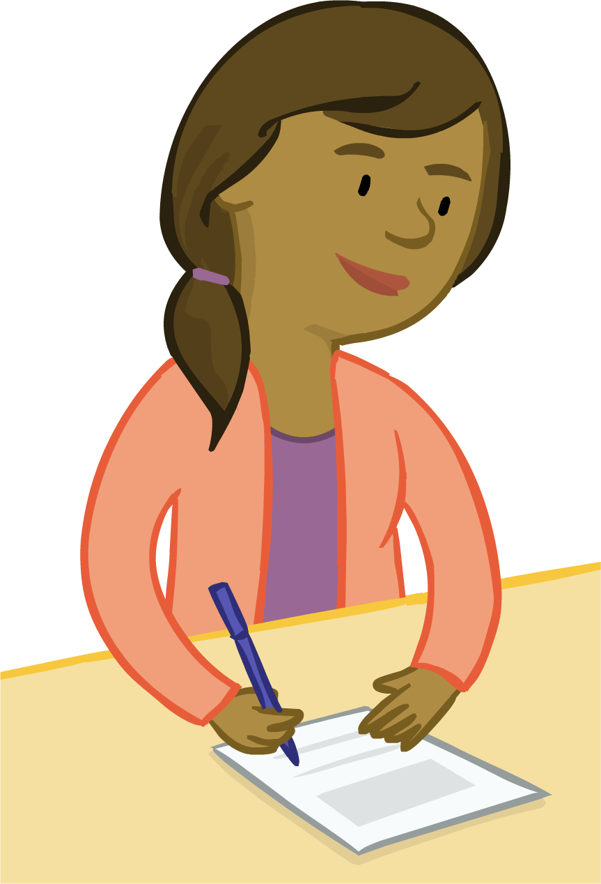 Image of parent character Paula filling out a form