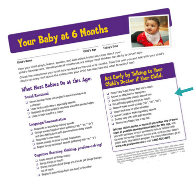 "Image of a checklist titled ""Your baby at six months"" with a list of what most babies do at this age. To the right of the image of the checklist is text that says: Here"