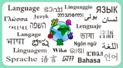 Image of the word language written in several different languages