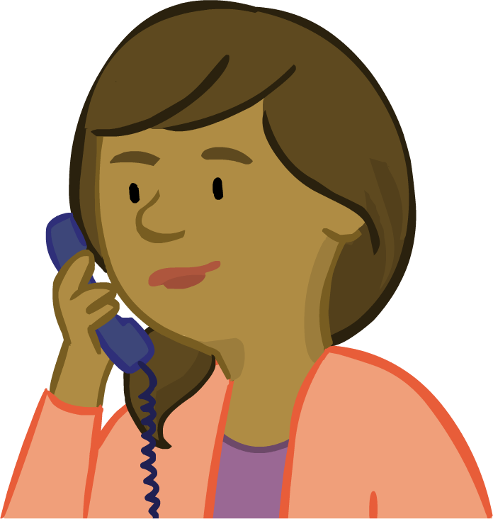 Image of parent character Paula on the phone